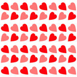 Pink Red heart Seamless Pattern. Wrapping paper, textile template. White background. Isolated. Flat design. Royalty Free Stock Photo