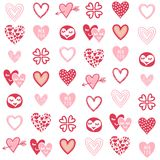 Pink red heart types on white Stock Images