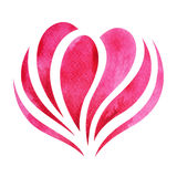 Pink red heart watercolor painting hand drawn design. Illustration Royalty Free Stock Photo