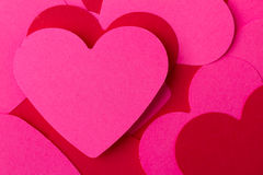 Pink and red hearts. Pink and red paper hearts with copyspace Royalty Free Stock Images