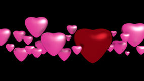Pink and red hearts. On black background Stock Photo
