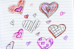 Pink and red hearts Stock Images