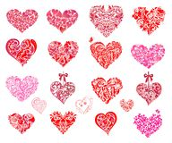 Pink and red hearts. Set Stock Photo