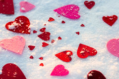 Pink and red hearts Stock Image