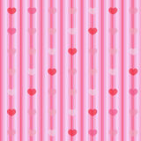 Pink and red hearts on striped cloth seamless back Stock Images