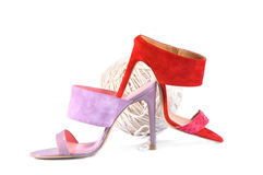 Pink and Red heels sandals on white Royalty Free Stock Images