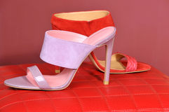 Pink and Red heels sandals Stock Image