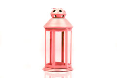 Pink, red lantern. Candlestick in the form of retro lamp. Stock Photo