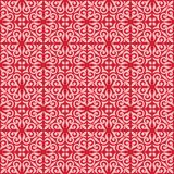 Pink on red ornamental scroll seamless repeat pattern background. Two colour ornamental scroll with dagger fleur de lis seamless repeat pattern background. Could Stock Images