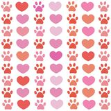 Pink and red paw print with hearts pattern. Happy Valentine`s day royalty free illustration