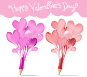 Pink and Red pencils with hearts icons Stock Images