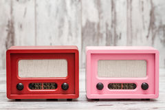 Pink and Red Radio with Retro Look Stock Photos
