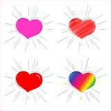 Pink red and rainbow heart with rays Symbol of love and marriage for Valentine`s Day Decorative heart for the design of greeting royalty free illustration