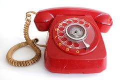 Pink red retro rotary dial telephone Royalty Free Stock Photography