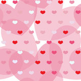 Pink and red simple hearts on seamless background Royalty Free Stock Image