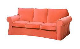 Pink red sofa furniture. couch. Isolated realistic illustration on white background Stock Image