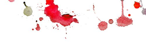 Pink red watercolor splashes and blots on white background. Ink painting. Hand drawn illustration. Abstract artwork. Stock Photo