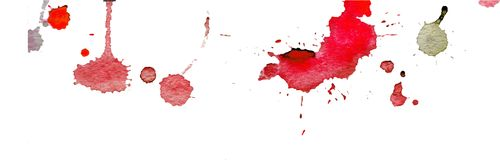 Pink red watercolor splashes and blots on white background. Ink painting. Hand drawn illustration. Abstract artwork. Royalty Free Stock Photos