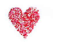 Candy Hearts isolated. Valentine`s Day. Pink and red, white candy Hearts isolated Stock Photo