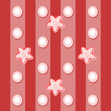Pink red white floral spotted striped tile Stock Photography