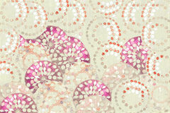 Pink red and white jewel circle print on cream Stock Photos