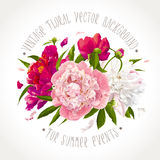 Pink, red and white peony composition Stock Photography
