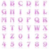 Pink reflex alphabet. Pink alphabet & numbers on white background Royalty Free Stock Photo