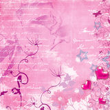 Pink retro background. Romantic pink background with hearts and flowers Royalty Free Stock Photo