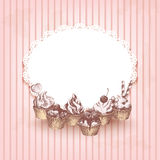 Pink retro background with hand drawn cupcakes Stock Image