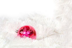 Pink retro ball and Christmas tinsel Royalty Free Stock Image