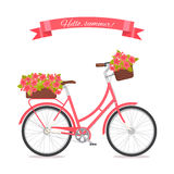 Pink retro bicycle with bouquet in floral basket and box on trunk for wedding, congatulation banner, invite, card vector illustration