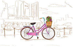 Pink Retro Bicycle with Flowers over City Sketch Stock Photos
