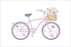 Pink retro bicycle with flowers in a wooden box vector illustration vector illustration