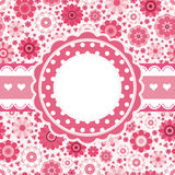 Pink retro card with floral pattern. stock image