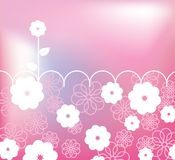 Pink retro card with flowers. And place for text Royalty Free Stock Image