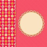 Pink Retro Card with Leaf Flower Pattern Part Royalty Free Stock Photo