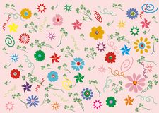 Pink retro floral. Retro floral pattern - Flowers, grass and abstract elements on pink background Stock Image