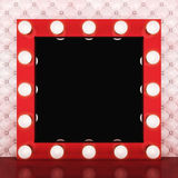 Pink retro makeup mirror on leather background Stock Photos