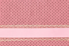 Pink retro polka dot textile Stock Photo