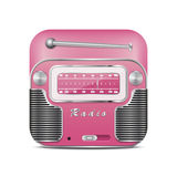 Pink retro radio icon Royalty Free Stock Image