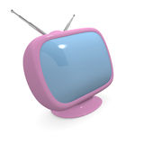 Pink retro styled television, 3d rendering Royalty Free Stock Photos