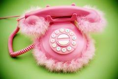 Pink retro telephone Stock Images