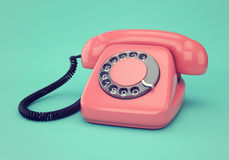 Pink retro telephone. Vintage illustration of pink retro rotary dial telephone on blue background Royalty Free Stock Image