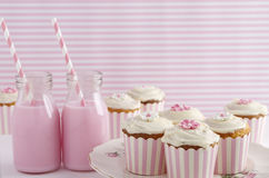Pink retro theme dessert table birthday party Royalty Free Stock Photos