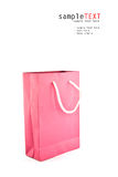 Pink reusable paper bag. Isolate on white Stock Image
