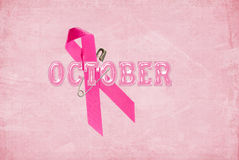 October breast cancer awareness pink ribbon Royalty Free Stock Photo