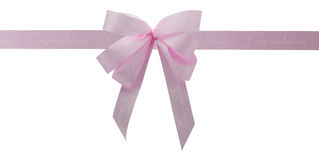 Pink ribbon. Gift pink ribbon and bow isolated on white Royalty Free Stock Photography