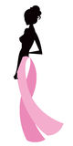 Pink Ribbon. Breast cancer awareness ribbon with women concept Royalty Free Illustration