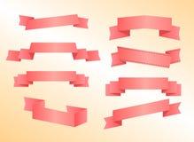 Pink Ribbon and banner Set Stock Photo
