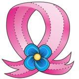 Pink Ribbon Blue Flower stock illustration